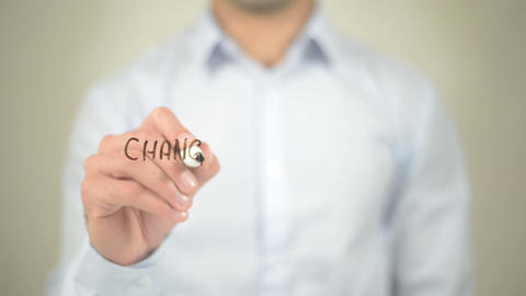 Change The World, Man Writing On Transparent Screen stock footage