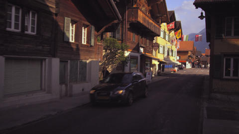 Dolly shot of a street in Switzerland Footage