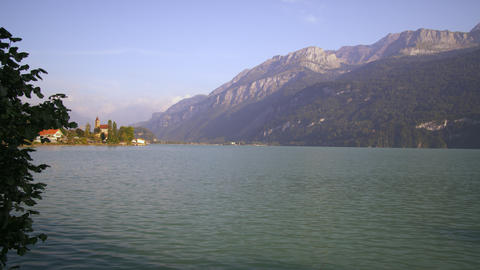 Panorama of Swiss lake, with mountains and houses Footage