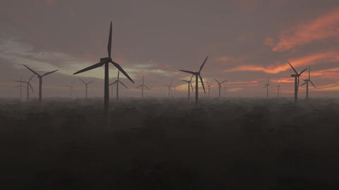 windmills working in a misty forest on sunset background, renewable energy concept, loopable Animation