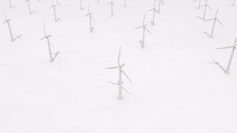 Wind turbines generating power on white background, clean energy concept Animation