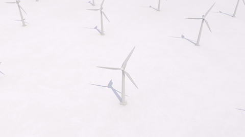 Wind turbines generating power on white background, clean... Stock Video Footage