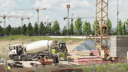 Construction Site Panorama With Cement Mixer Truck Live Action