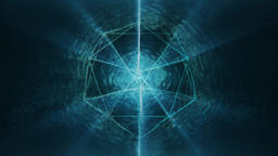 Sacred Geometry - Blue Abstract Icosahedron Rotating and Radiating Liquid Light CG動画素材