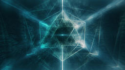 Sacred Geometry - Spherical Blue Icosahedron Rotating in Foggy Nebula Space Animation
