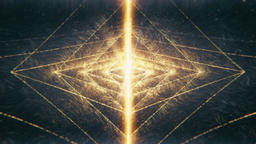 Sacred Geometry - Nested Octahedron Radiating Golden Particle Waves into Space Animation