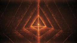 Sacred Geometry - Nested Tetrahedron Glittering Orange Red in Meditation Space Animación