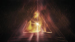 Sacred Geometry - Abstract Tetrahedron (3-Side Pyramid) in Liquid Fire Rotating Animation