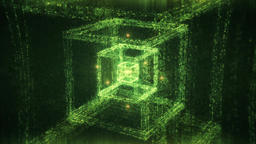 Green Abstrac Cube Nested Matrix Style Slowly Spinning - Sacred Geometry Animation