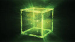 Abstract Green Cube slowly rotating in a dreamlike space - Sacred Geometry Animation