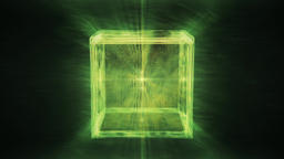 Abstract Green Cube slowly rotating in a dreamlike space... Stock Video Footage