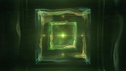 Green Abstract Cube Surrounded by Liquid Light - Sacred... Stock Video Footage