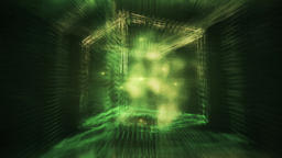 Abstract Green Cube Containing Smoky Liquid in Surreal Space - Sacred Geometry Animation