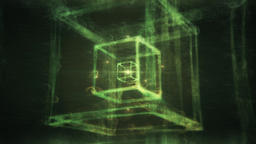 Abstract Nested Cubes in Green Spherical Surrounding - Sacred Geometry Animation