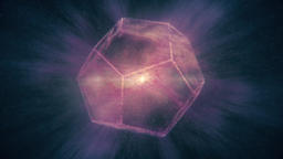 Purple Abstract Dodecahedron rotating in Space Nebula -... Stock Video Footage