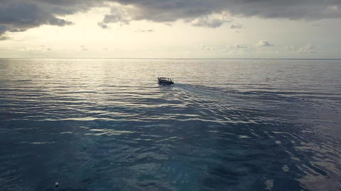 Aerial drone view. Speed boat for tourism goes in ocean Footage