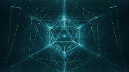 Sacred Geometry - Blue Abstract Nested Icosahedron Glittering and Rotating CG動画素材