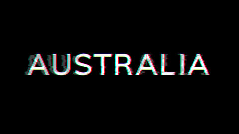 From the Glitch effect arises country name AUSTRALIA. Then the TV turns off. Alpha channel Animation