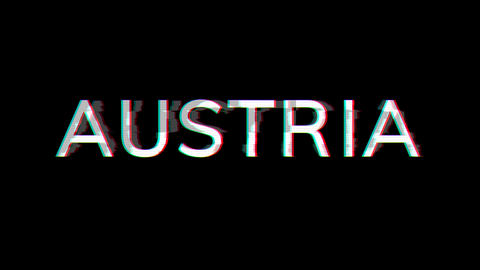 From the Glitch effect arises country name AUSTRIA. Then the TV turns off. Alpha channel Animation