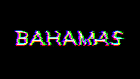 From the Glitch effect arises country name BAHAMAS. Then the TV turns off. Alpha channel Animation