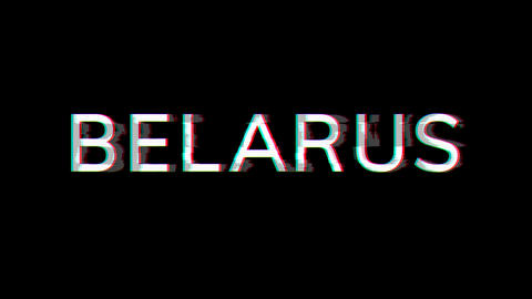 From the Glitch effect arises country name BELARUS. Then the TV turns off. Alpha channel Animation
