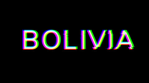 From the Glitch effect arises country name BOLIVIA. Then the TV turns off. Alpha channel Animation