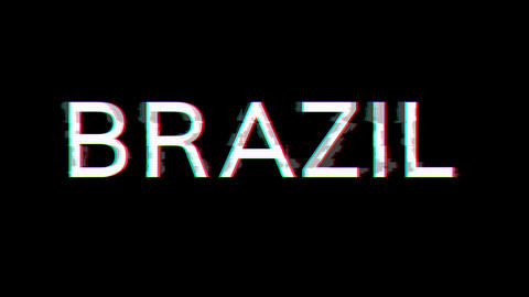 From the Glitch effect arises country name BRAZIL. Then the TV turns off. Alpha channel Animation