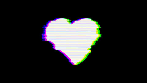 From the Glitch effect arises heart suit ii. Then the TV... Stock Video Footage