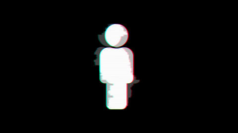 From the Glitch effect arises Male Sign . Then the TV turns off. Alpha channel Premultiplied - Animation