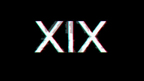 From the Glitch effect arises Roman numerals XIX. Then the TV turns off. Alpha channel Premultiplied Animation