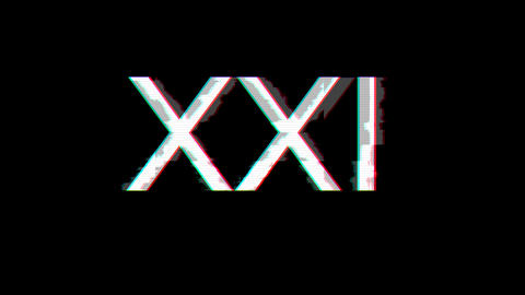 From the Glitch effect arises Roman numerals XXI. Then the TV turns off. Alpha channel Premultiplied Animation