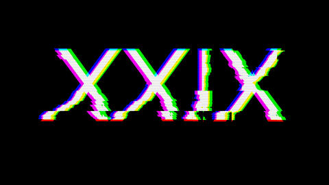 From the Glitch effect arises Roman numerals XXIX. Then the TV turns off. Alpha channel Animation