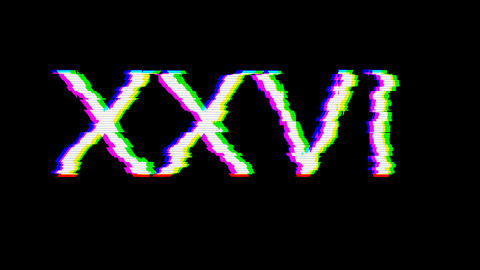 From the Glitch effect arises Roman numerals XXVI. Then the TV turns off. Alpha channel Animation