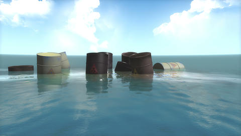 Toxic waste barrels floating on water Animation