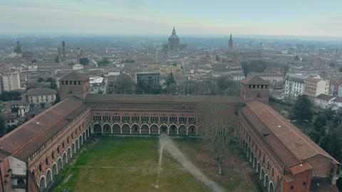 Aerial shot of historic Castello Visconteo or Visconti Castle and the cityscape Footage