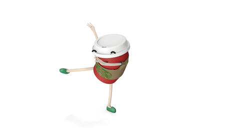 Editorial Starbucks hot coffee cup dance Animation