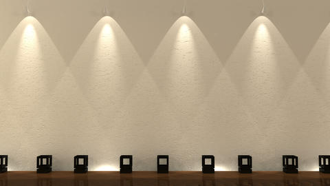Empty gallery wall with spot lights Animation