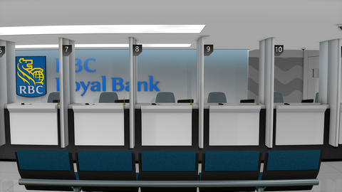 Editorial RBC service counter Footage