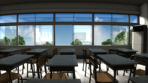 Window view of empty classroom Animation