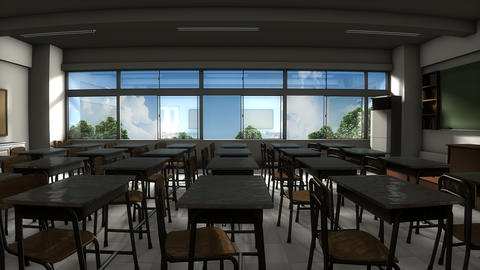 Window view of empty classroom Footage