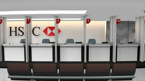 Editorial HSBC bank service counter Footage