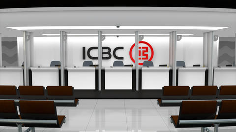 Editorial ICBC bank service counter Footage