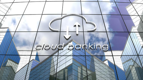 Cloud banking building concept animation Animation