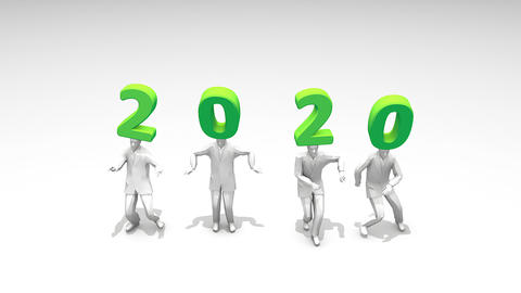 Exciting new year 2020 funny dancing people Footage
