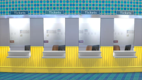 Ticket counter booth Footage