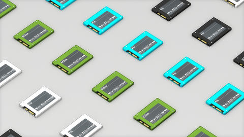 Computer SSD storage top view Animation
