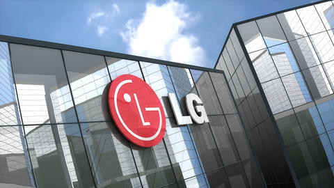 Editorial, LG Electronics Inc. logo on glass building Footage