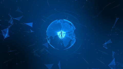 Shield icon on secure global network , Cyber security concept. Earth element furnished by Nasa Animation
