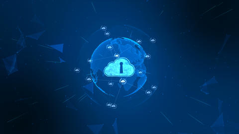 Secure global network. Digital cloud computing cyber security concept. Earth element furnished by Animation