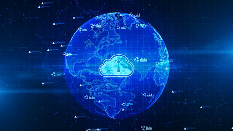 Secure data in global network, Digital cloud computing, Cyber security concept, Earth element Animation